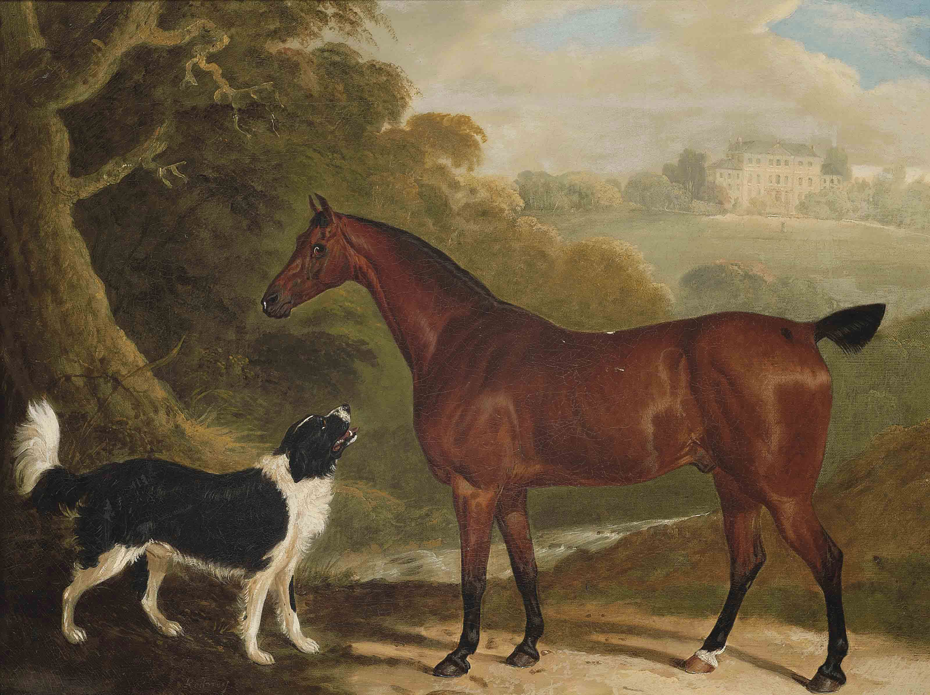 A chestnut hunter and Newfoundland dog in an extensive landscape, a country house beyond