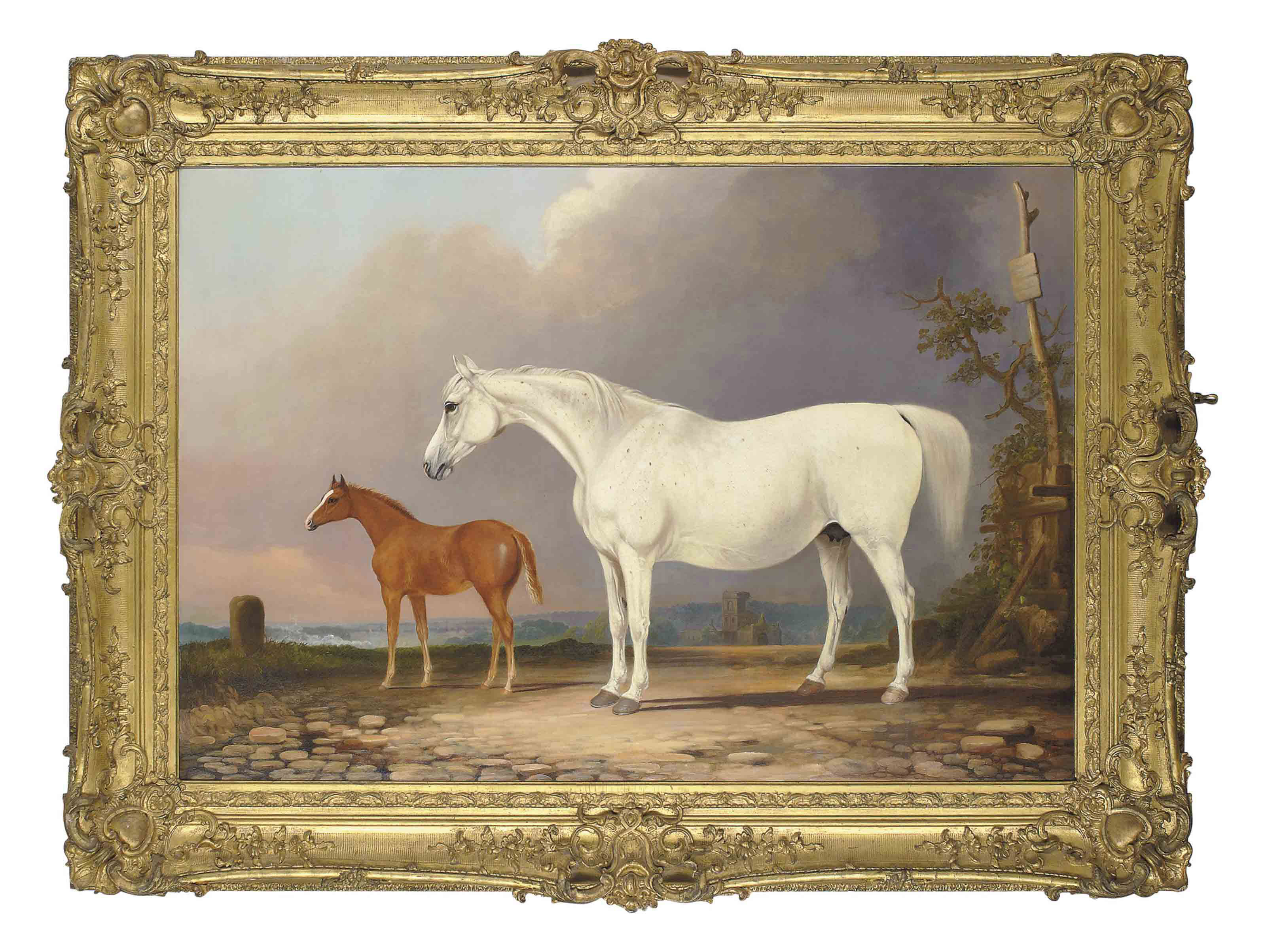 A grey mare and her chestnut foal, in an extensive landscape