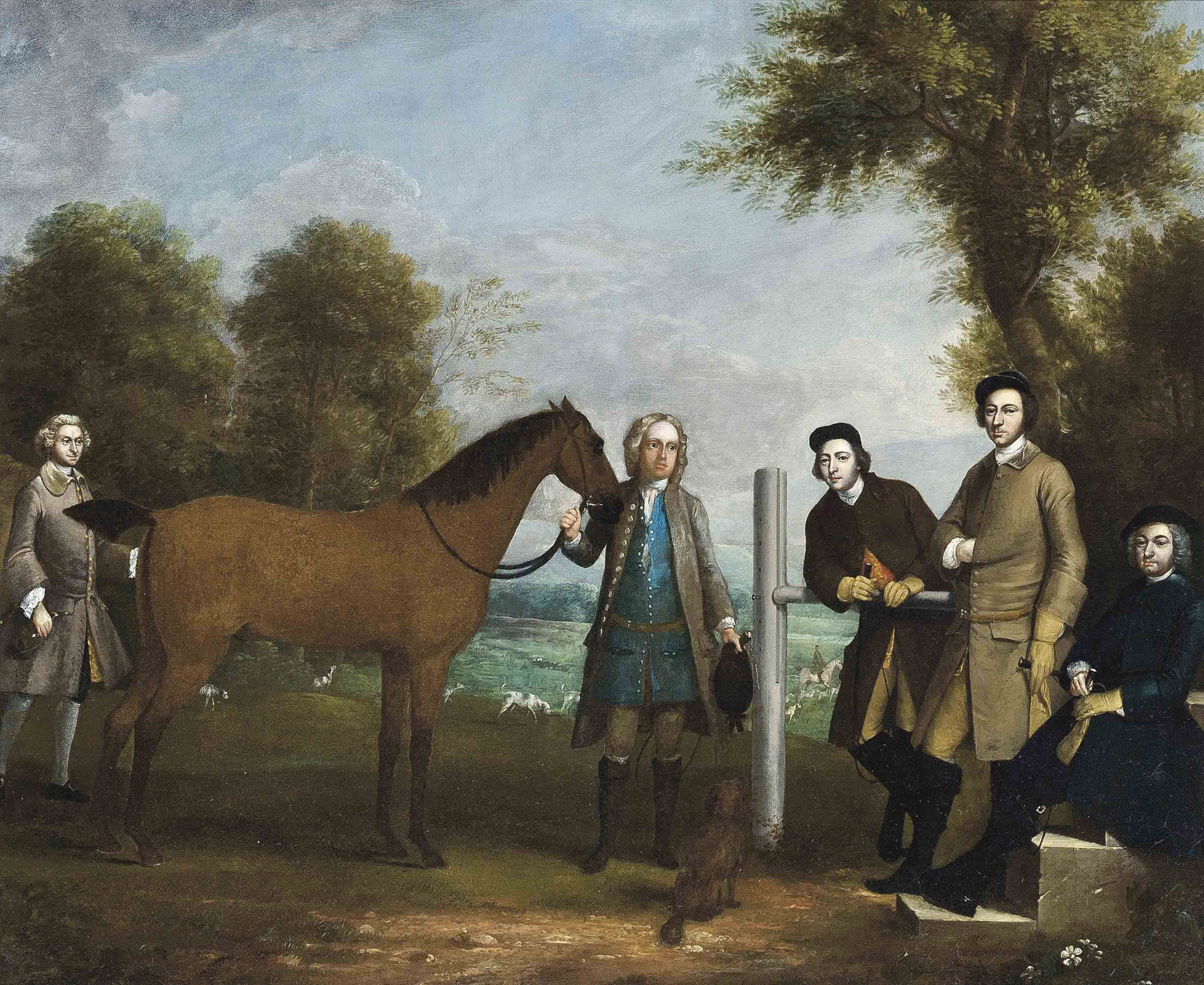 Group portrait, including Edward Chester (1712-1767), owner of Cockenhatch, his brother, Peter (1720-1799), Governor of Florida, a groom and the clergyman of the parish of Barkway, Rev. William Andrew, full-length, in a landscape with hounds beyond
