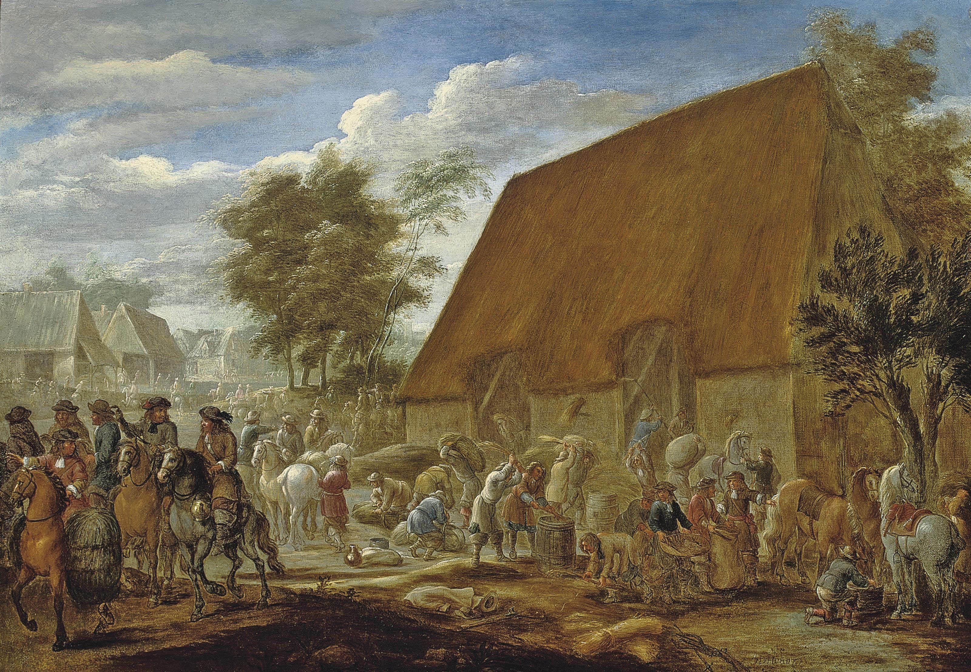 Farmers threshing corn before a thatched barn