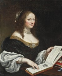 Portrait of a lady, half-length, in a blue dress, a pearl necklace and bracelets with an open book of music on the table