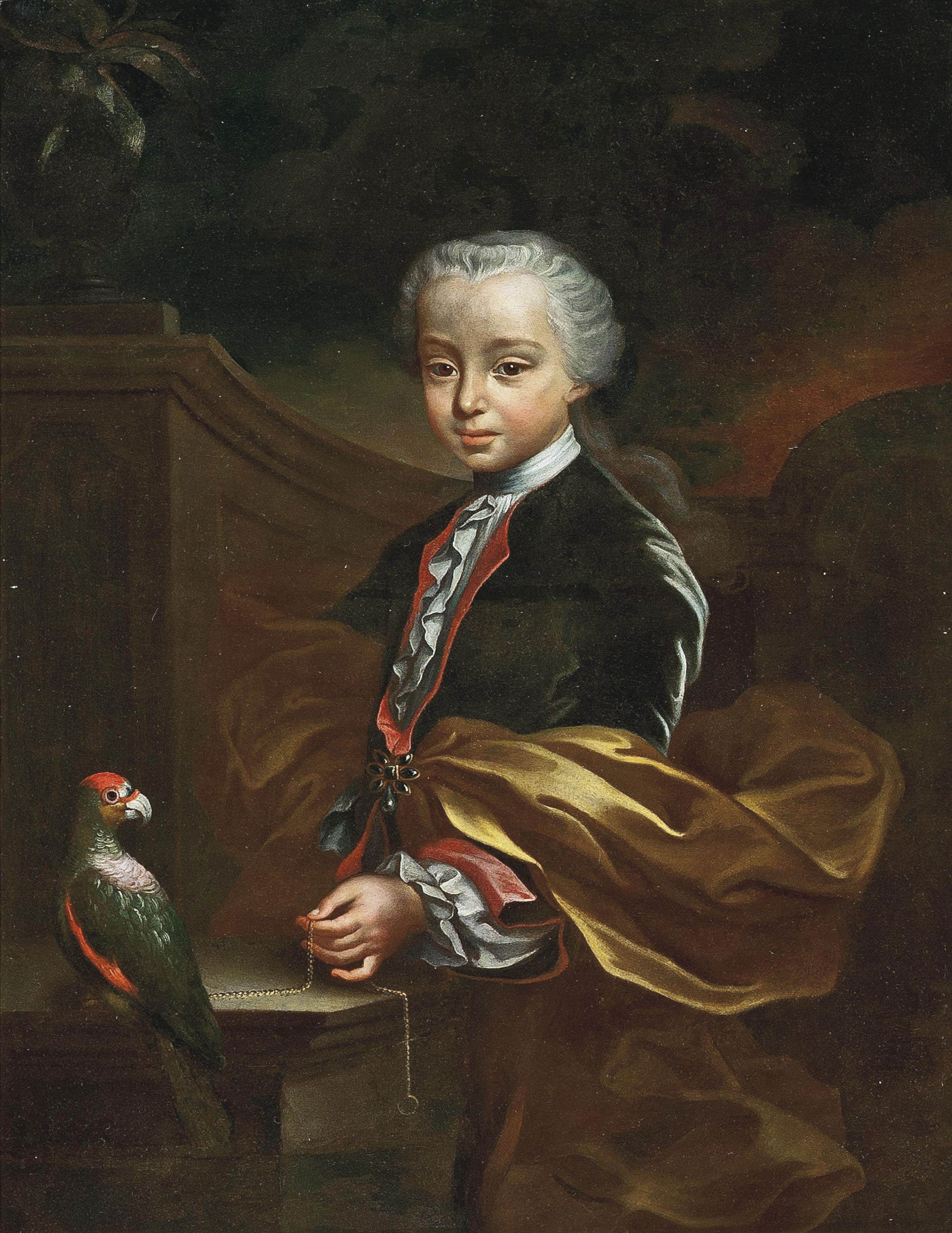 Portrait of a young boy, three-quarter-length, in a blue coat and gold wrap, a chain in his left hand, beside a parrot, in a classical garden