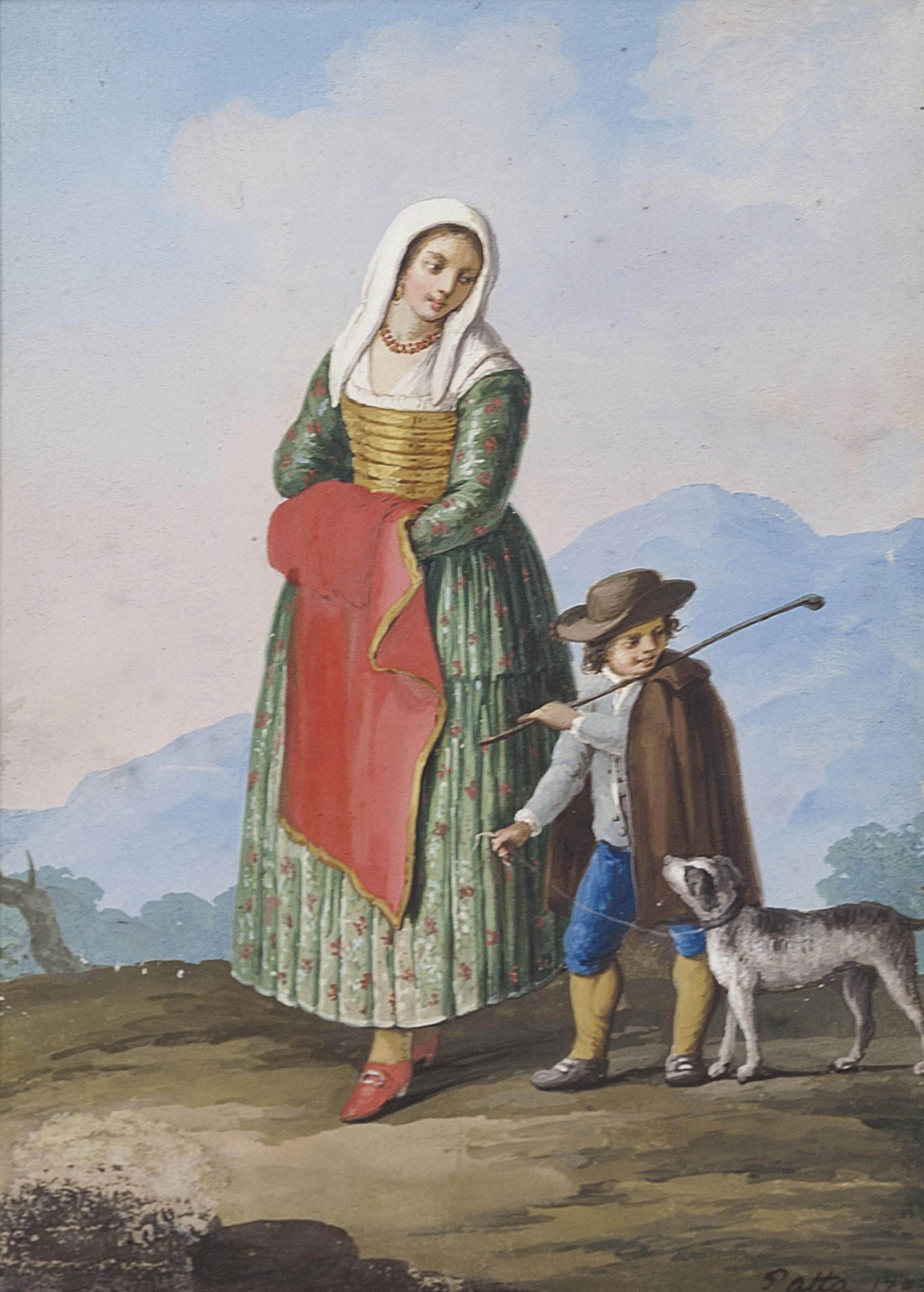 A set of three Neapolitan costume studies; and A set of three Neapolitan street scenes