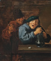 Boors drinking and smoking in an interior