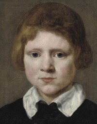 Portrait of a young boy, bust-length, in black