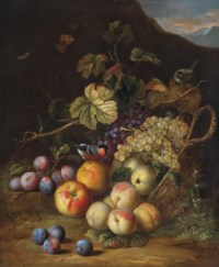 A basket of apples, plums, peaches and grapes with a bullfinch and moths, a mountainous landscape beyond