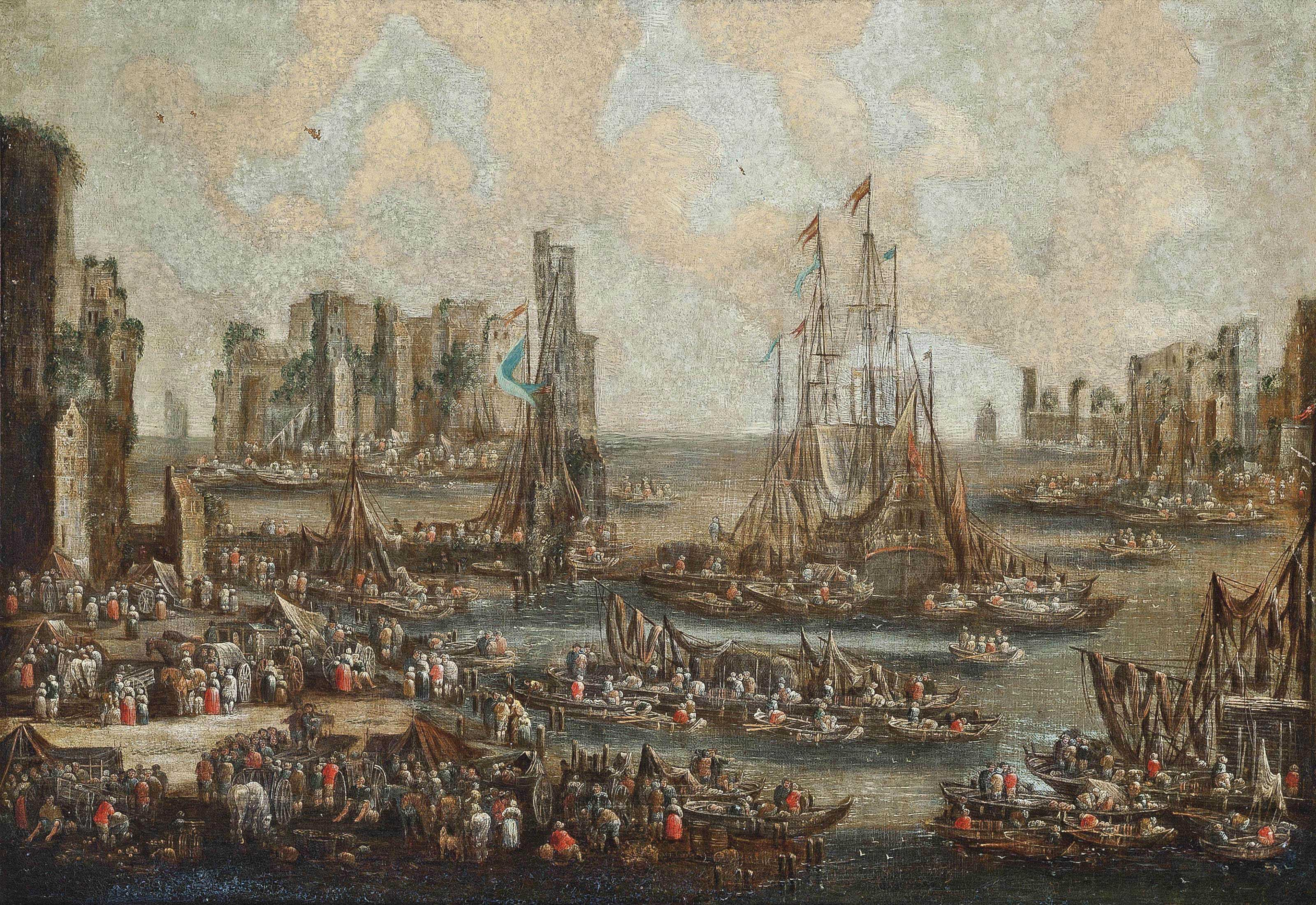 A Mediterranean harbour scene with ships unloading their cargo