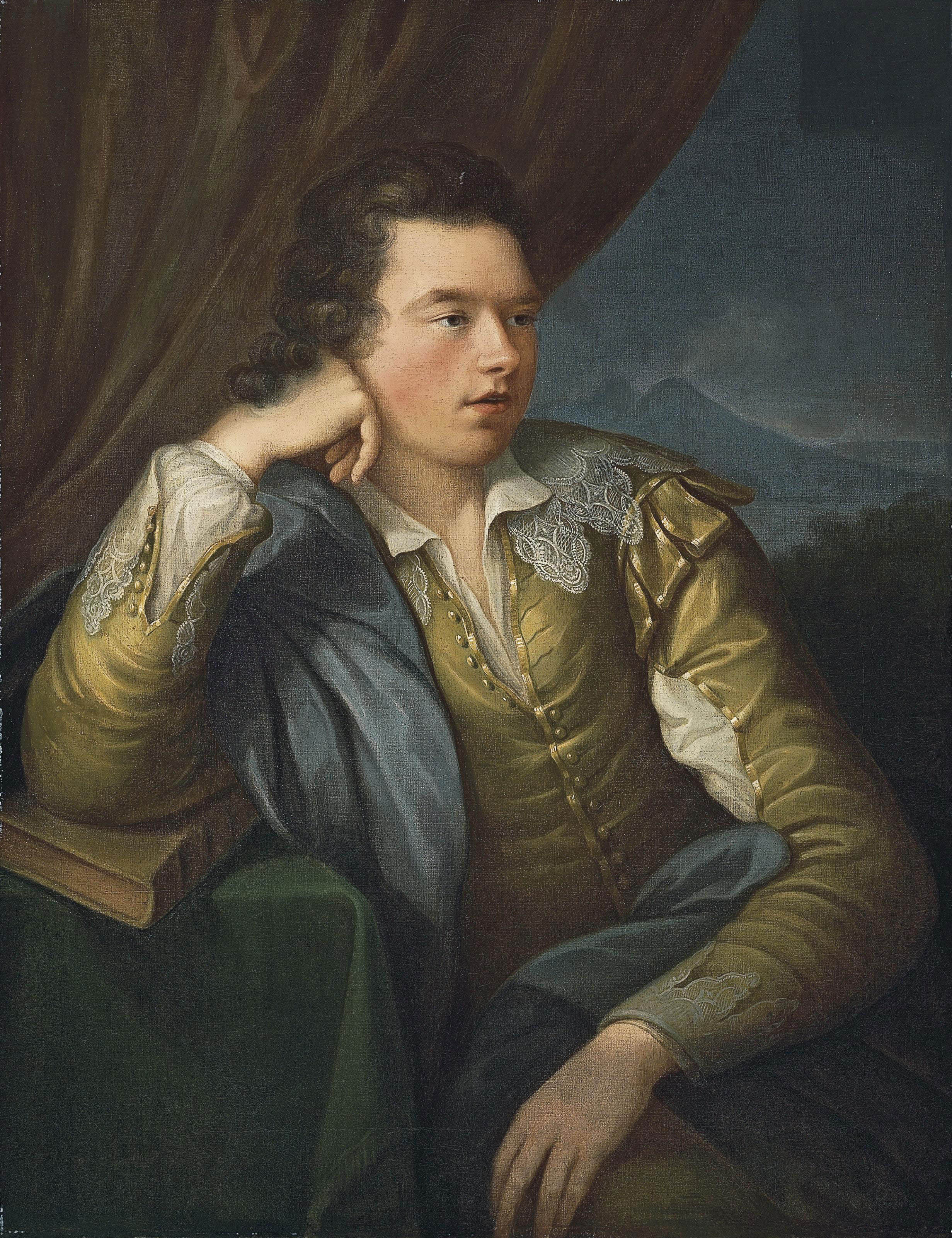 Portrait of John Campbell, 4th Earl and 1st Marquess of Breadalbane (1762-1834), three-quarter-length, in a yellow jacket with lace collar and cuffs, his right arm resting on a book, a mountainous landscape beyond
