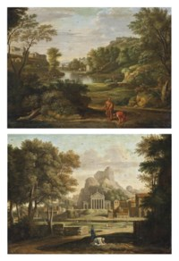 A classical landscape with Diogenes casting away his drinking cup; and A classical landscape with the gathering of the ashes of Phoican