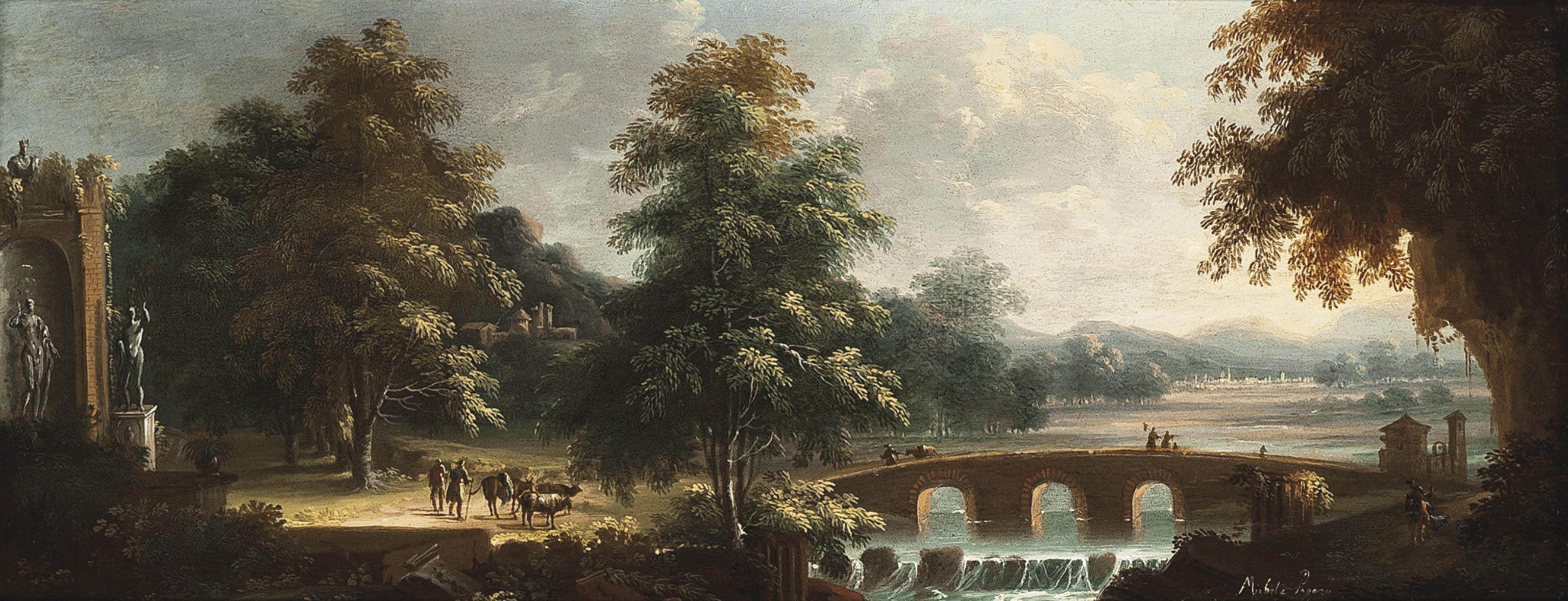 A wooded river landscape with drovers and their herd beside classical ruins and travellers crossing a bridge