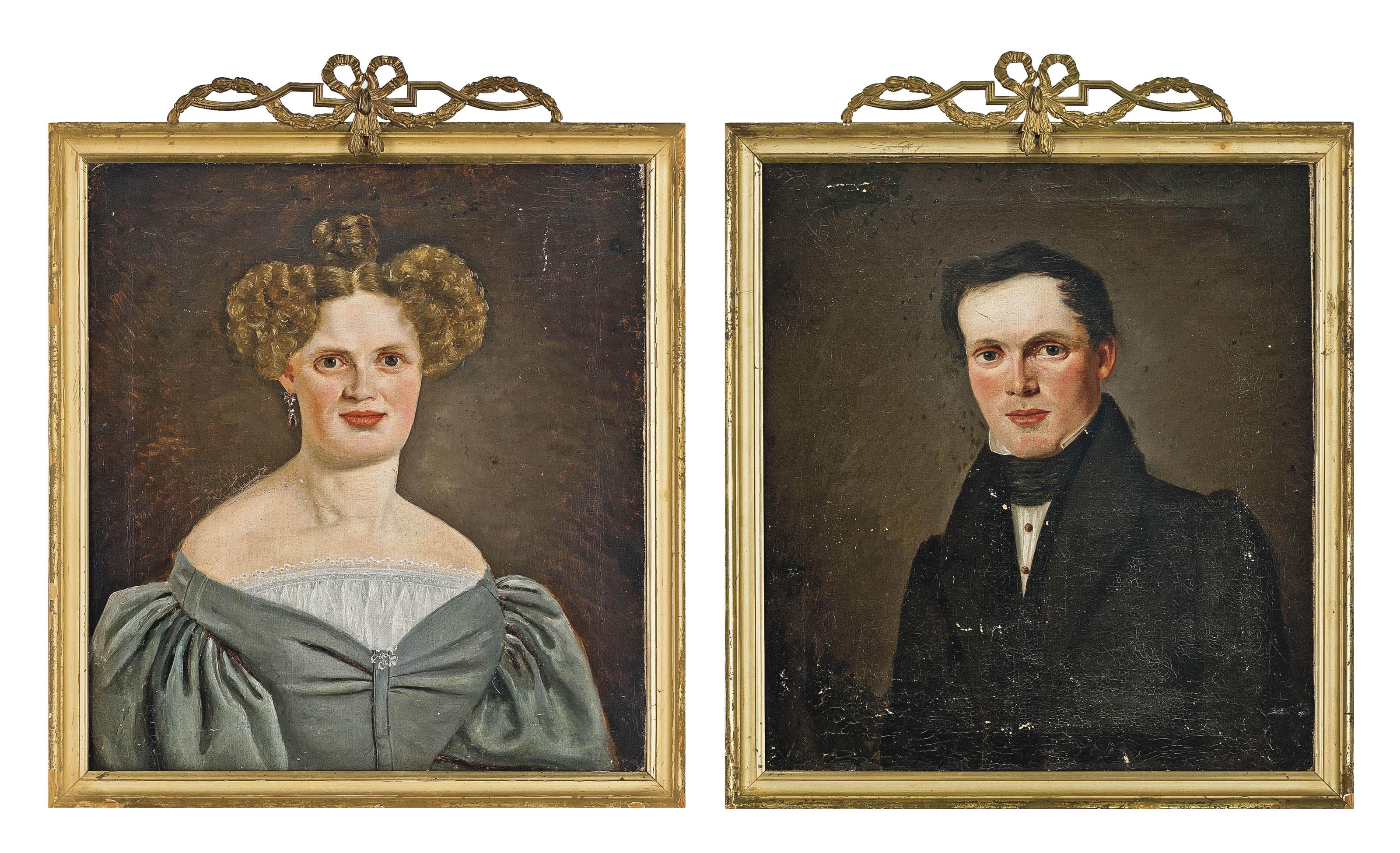 Portrait of a lady in a grey dress; and Portrait of a gentleman in a black coat and cravat, both bust-length