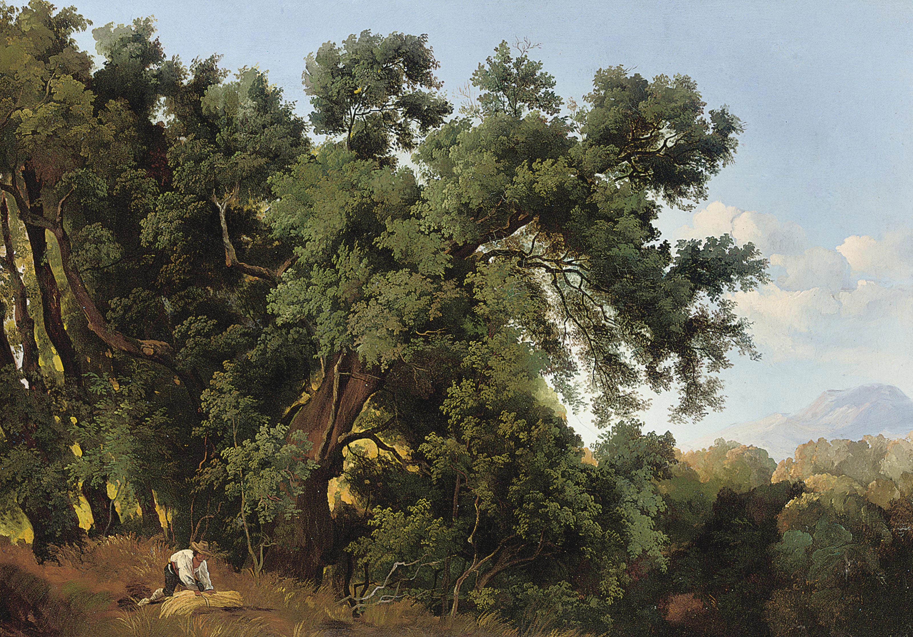 Harvesting in an Italianate landscape