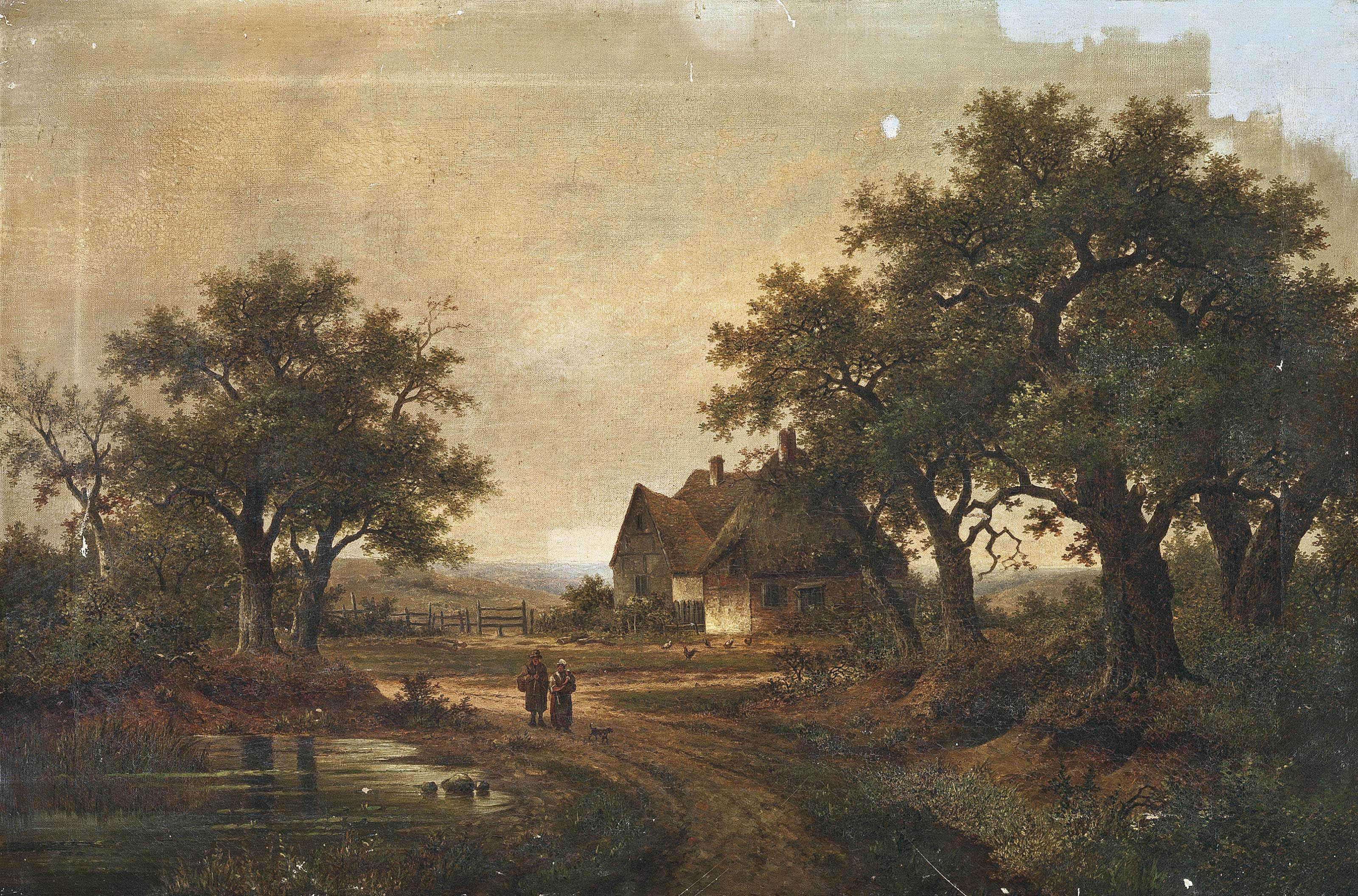 Peasants walking along a country lane