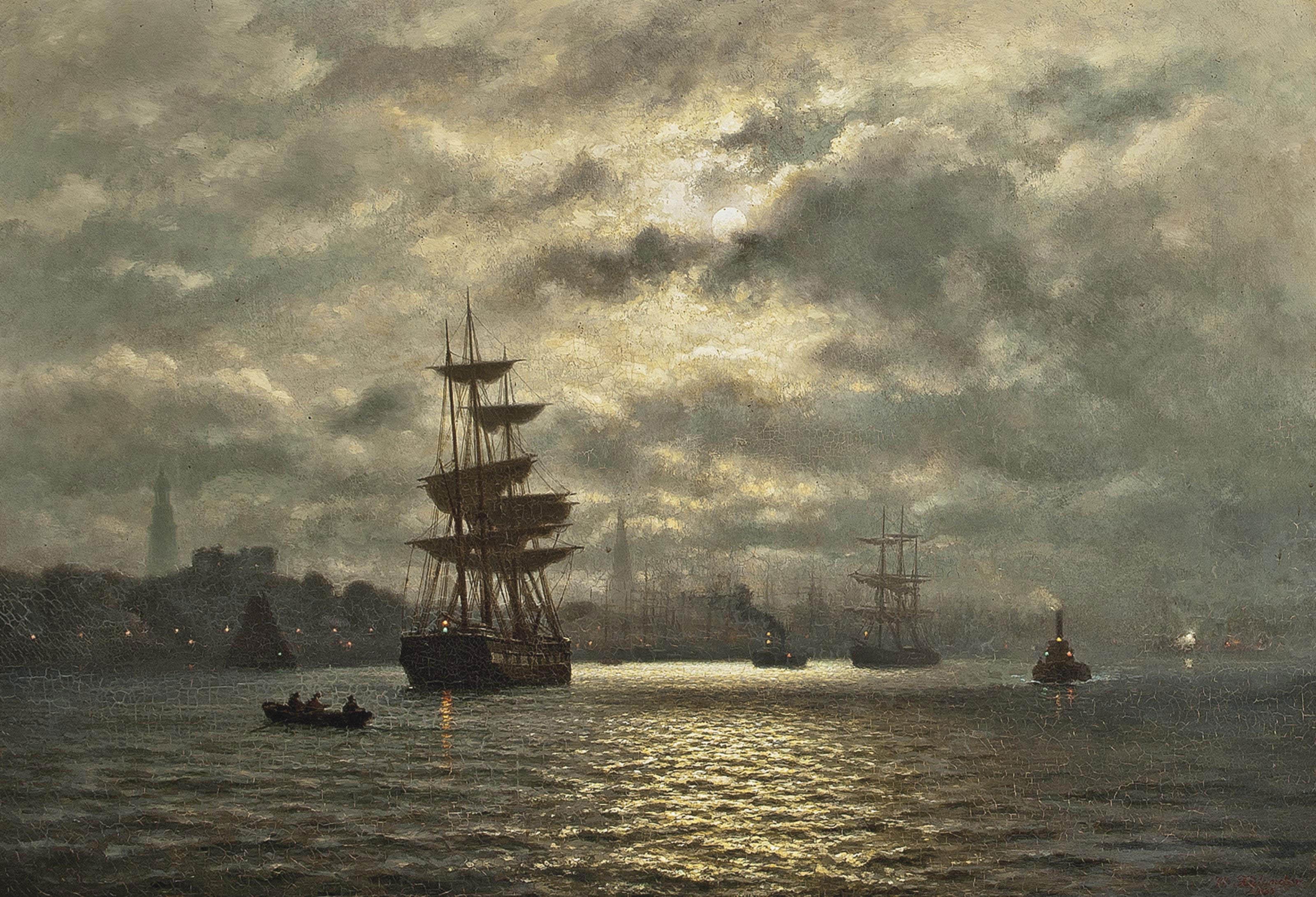 Hamburg harbour under the moon