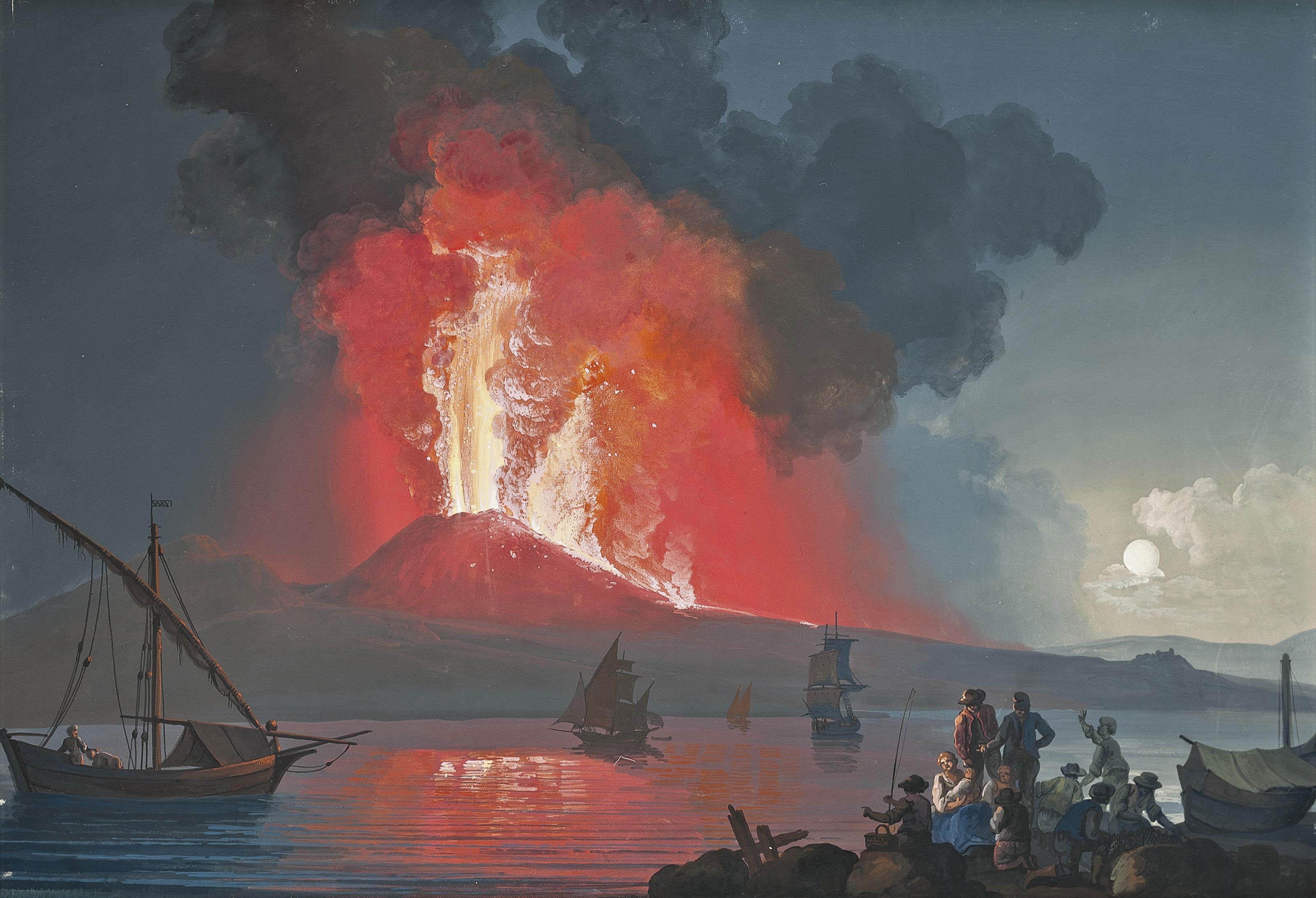 Figures watching Vesuvius erupt by night