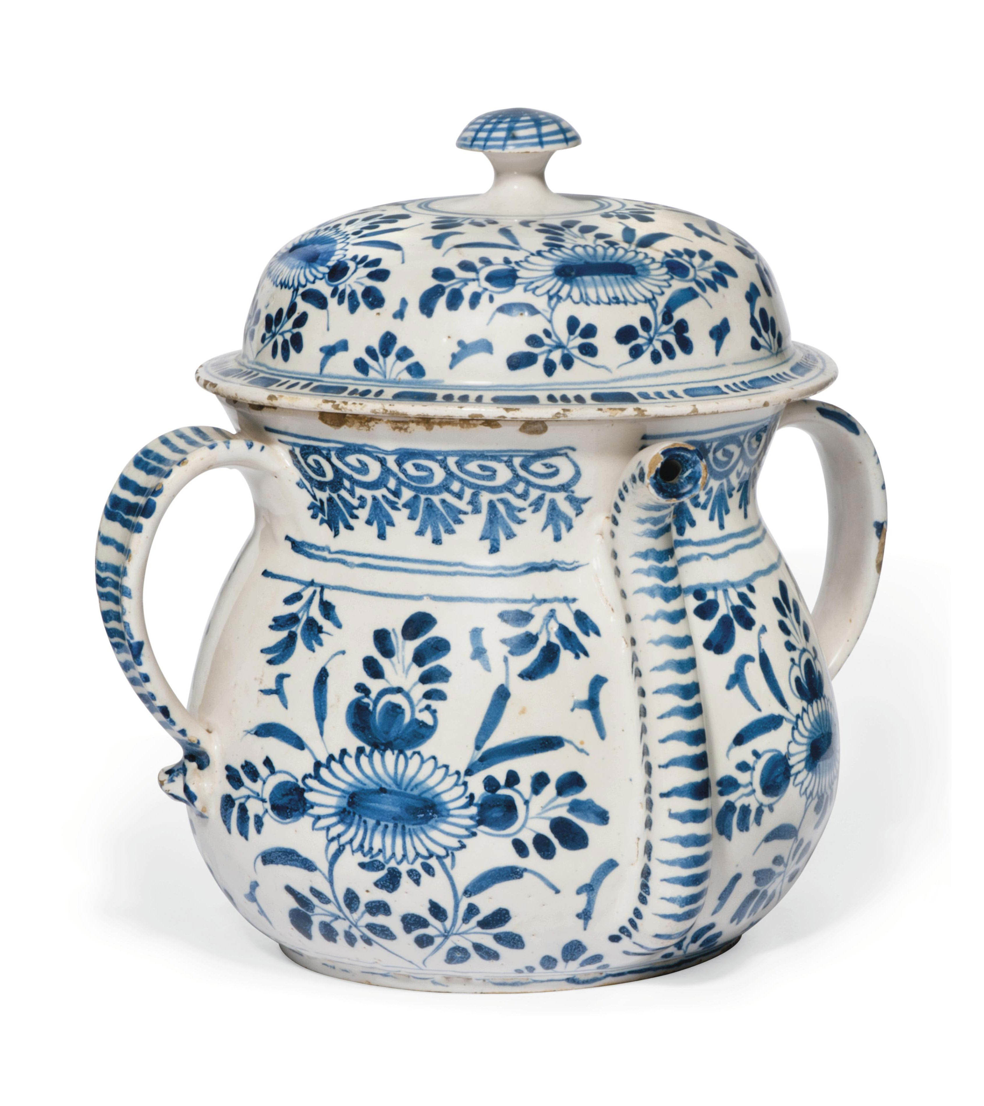 AN ENGLISH DELFT BLUE AND WHITE POSSET-POT AND COVER