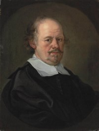Portrait of a gentleman, bust-length, in a black doublet and mantle, and a clerical collar, feigned oval