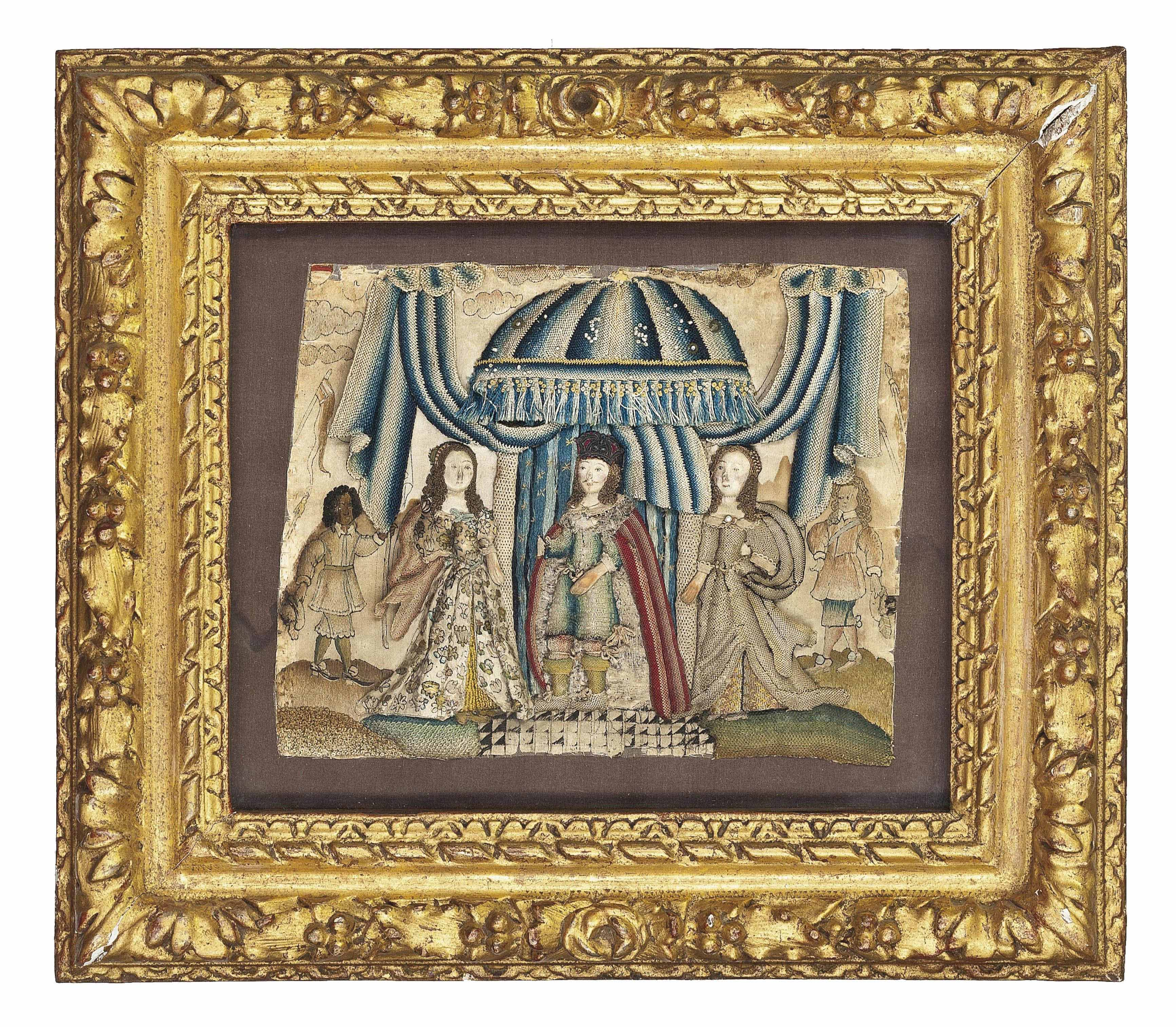 A RAISEDWORK PICTURE DEPICTING A KING IN A TENTED CANOPY