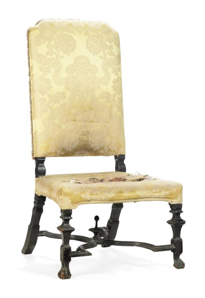 A QUEEN ANNE HIGH-BACK CHAIR