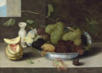 A kraak porcelain bowl of grapes, with a cut melon and a stoneware vase on a stone ledge