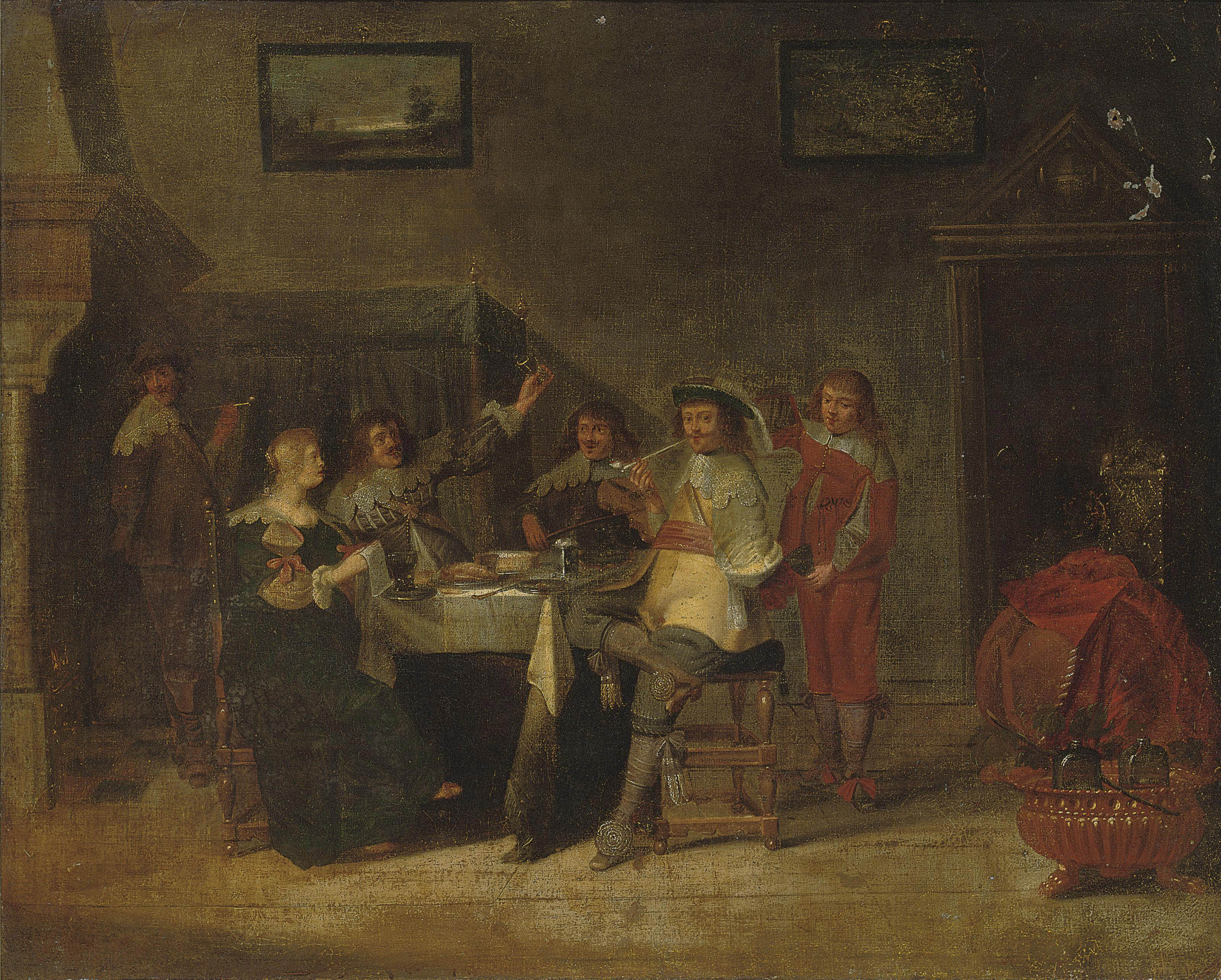 An elegant company making merry in an interior