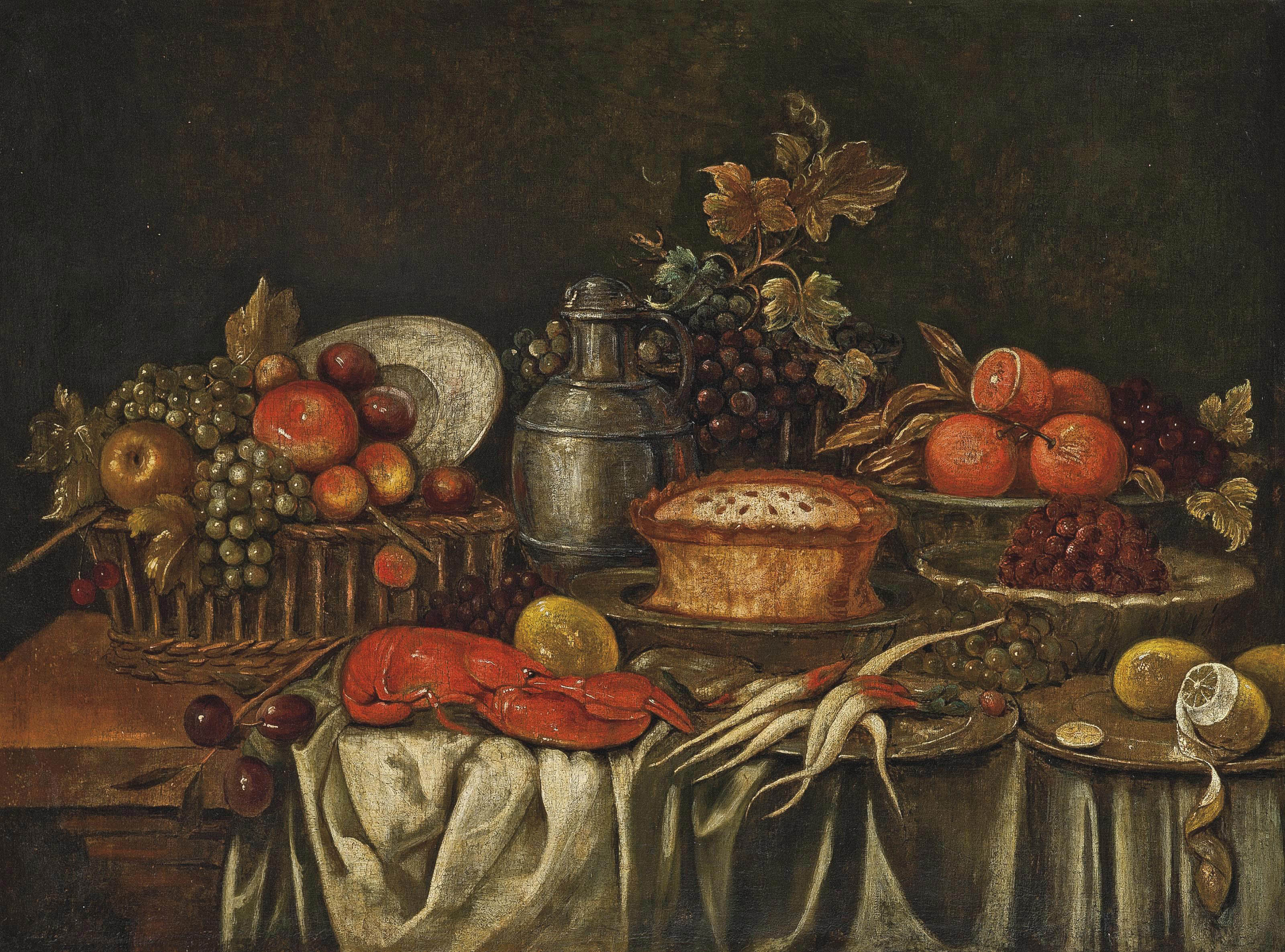 Plums and fruit in a basket, a lobster, lemons, oranges, grapes, a jug and a pie on a partially draped table