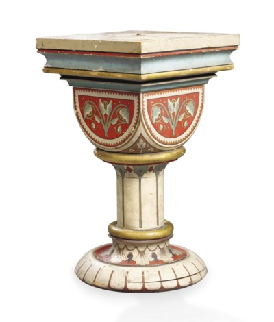 A GOTHIC REVIVAL PAINTED WOOD