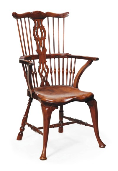 A YEW AND ELM WINDSOR ARMCHAIR