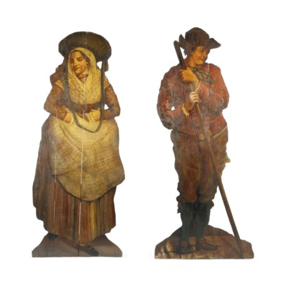 A PAIR OF PAINTED WOOD DUMMY B