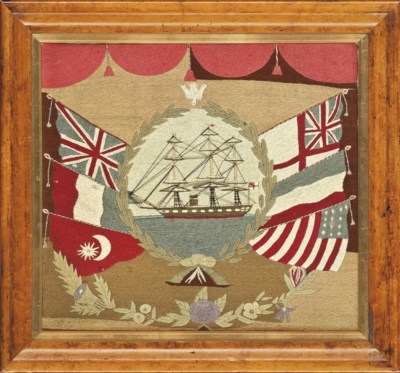 A SHIPS WOOLWORK PICTURE