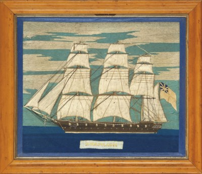 A SHIPS WOOLWORK PICTURE OF H.