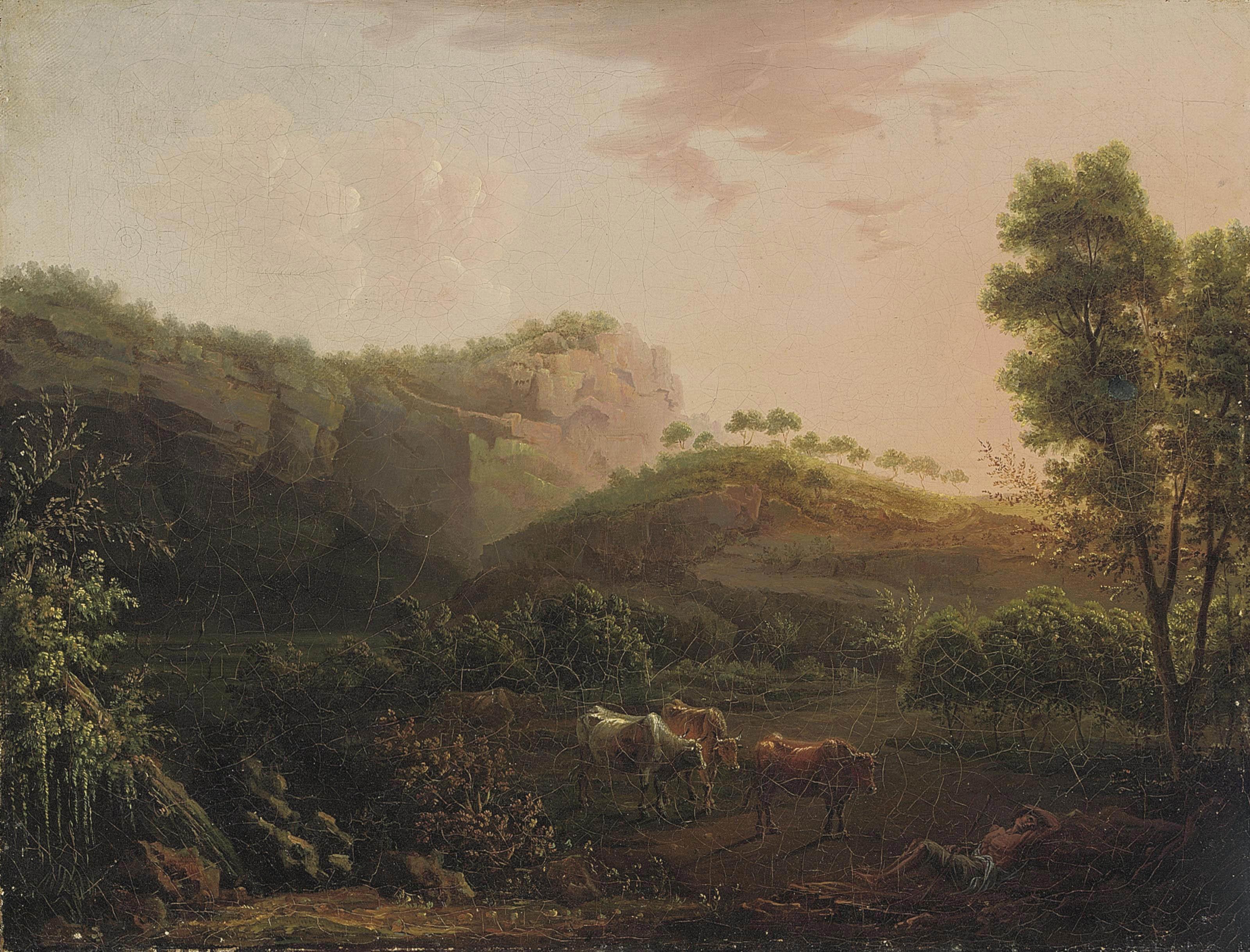 Dutch School, 18th Century | A wooded mountainous landscape