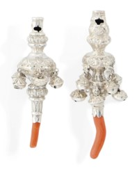 AN EARLY VICTORIAN SILVER RATTLE AND WHISTLE WITH CORAL TEETHER