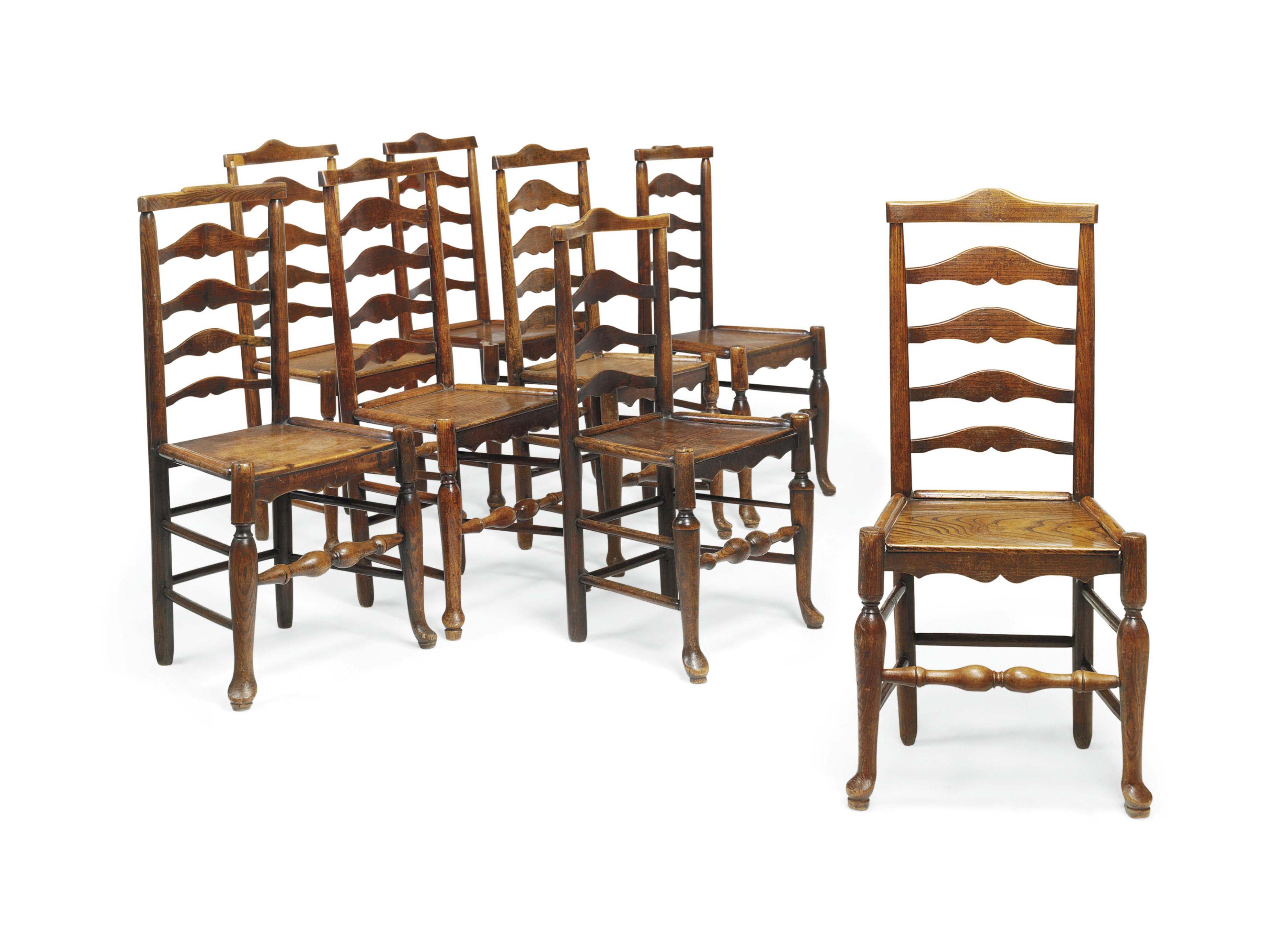 A matched set of eight english ash ladderback dining