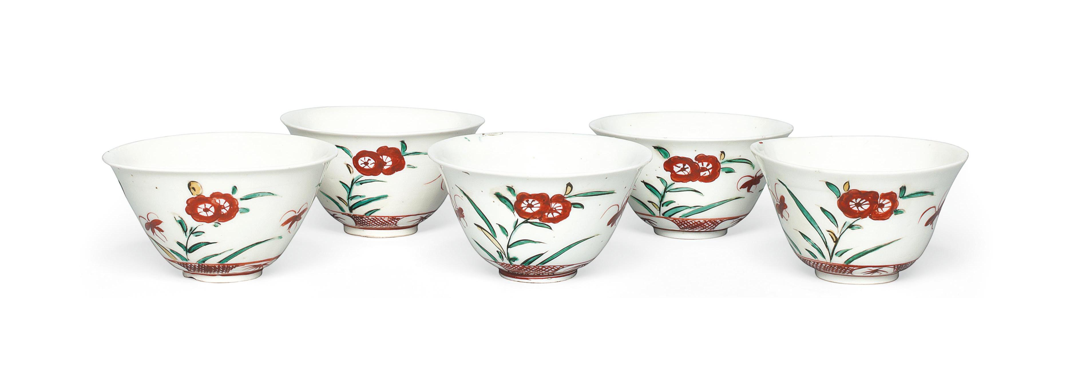 Five Kutani Early Enamelled Bowls