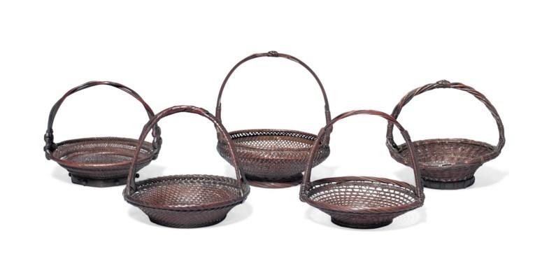 A Set of Five Miniature Basket