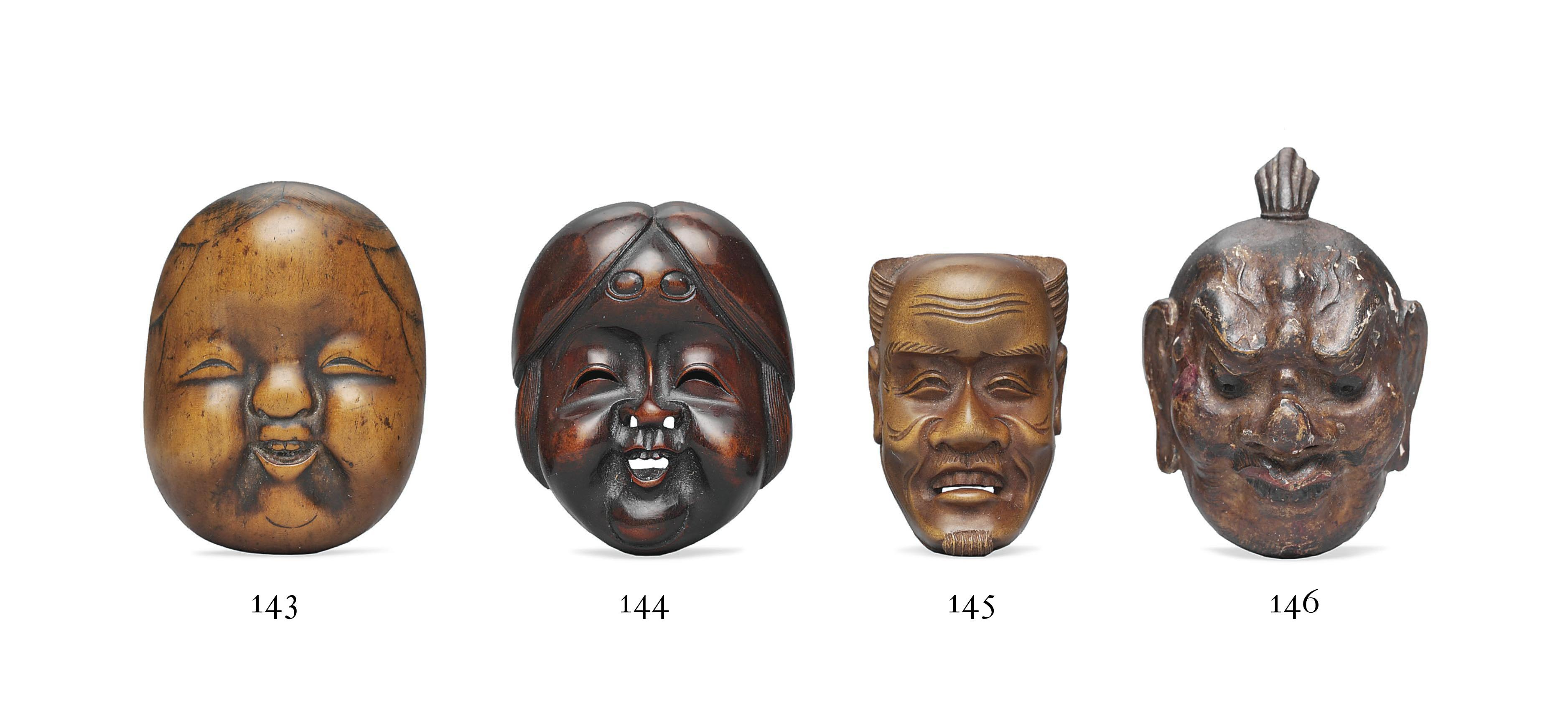 Five Wood Mask Netsuke