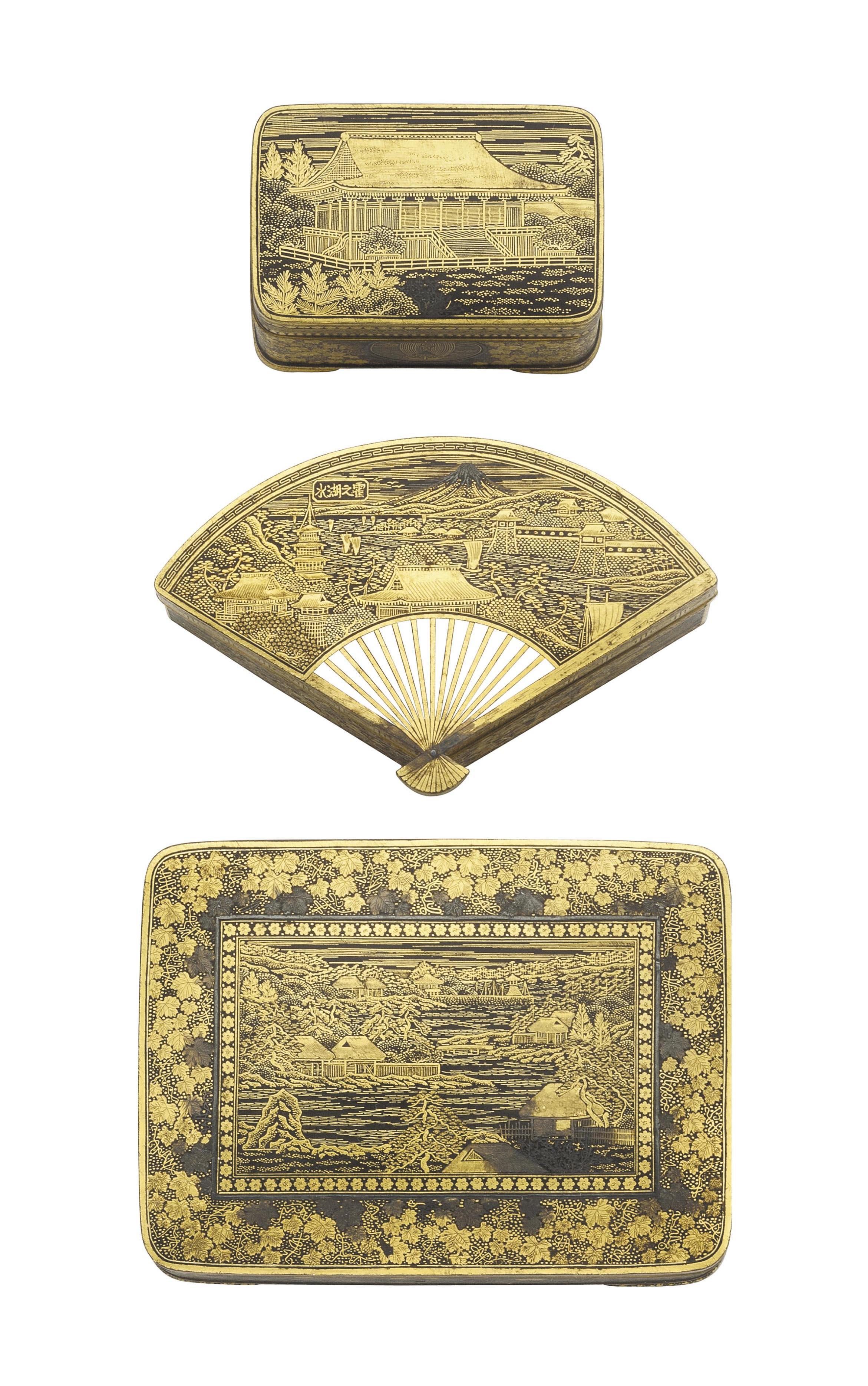 Three Komai Style Boxes and a