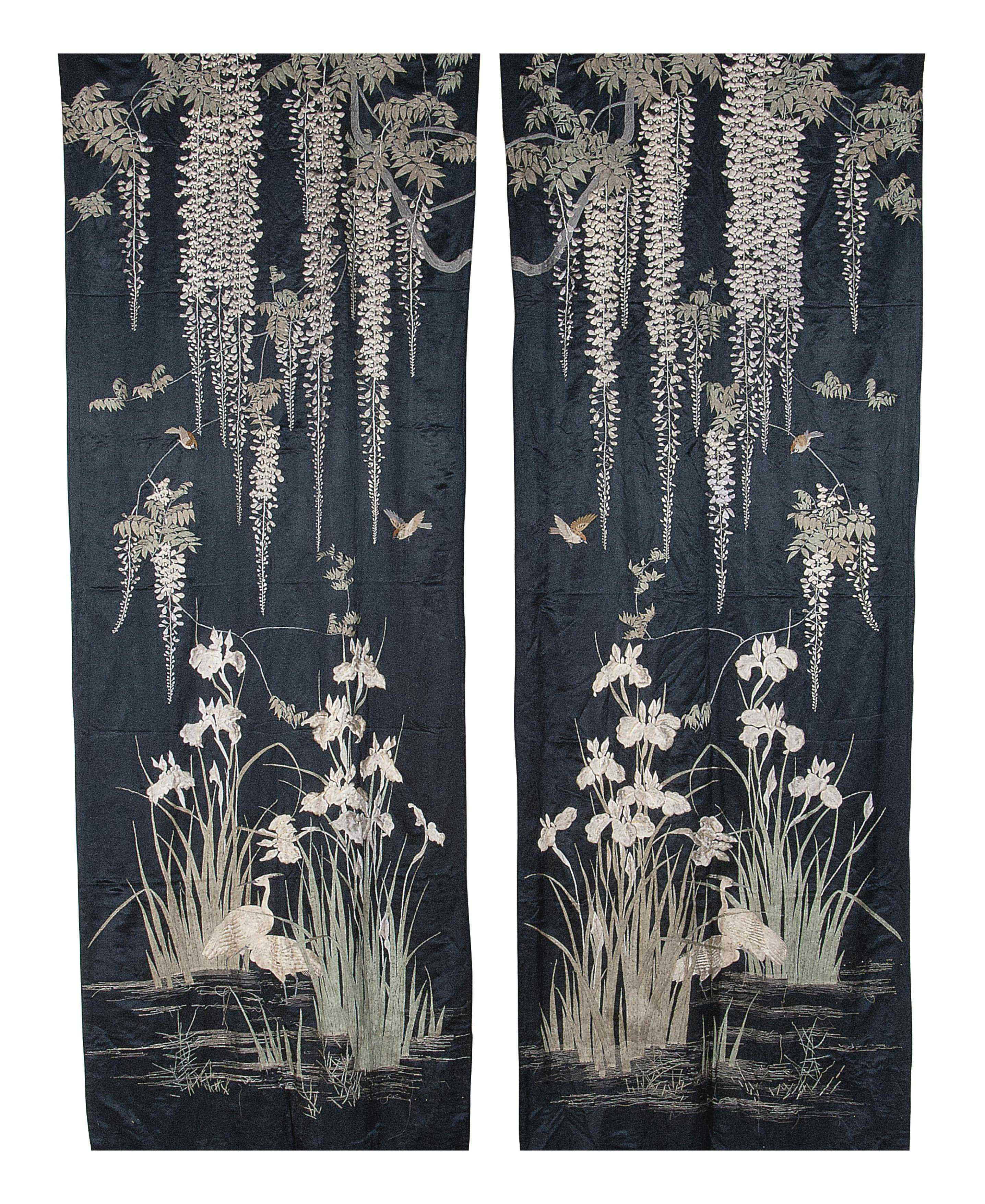 TWO PAIRS OF EMBROIDERED SILK