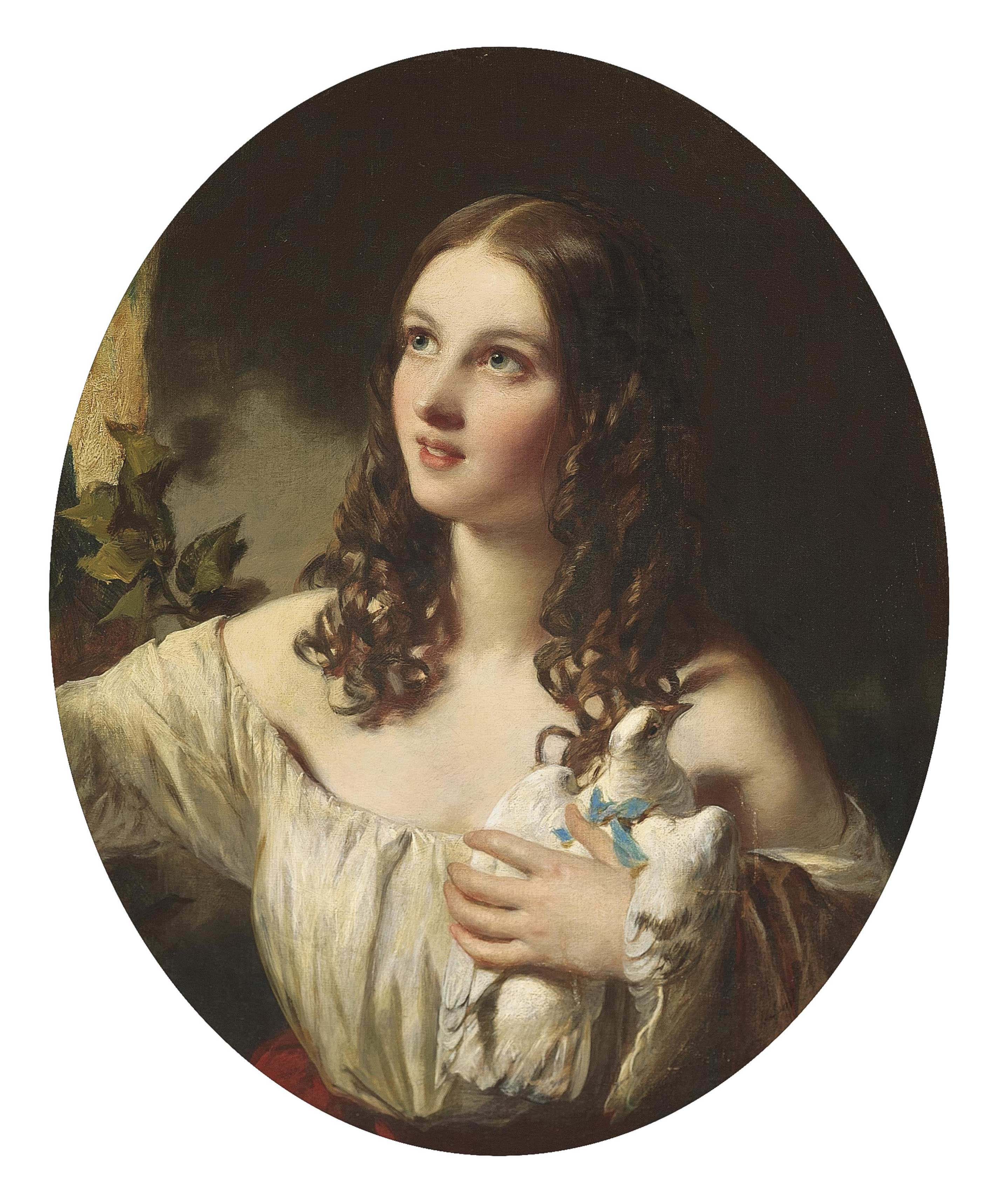 Portrait of a young girl, half-length, in a white muslin dress with a red sash, holding a dove