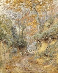 Raking the leaves, Hollow Lane, Witley, Surrey