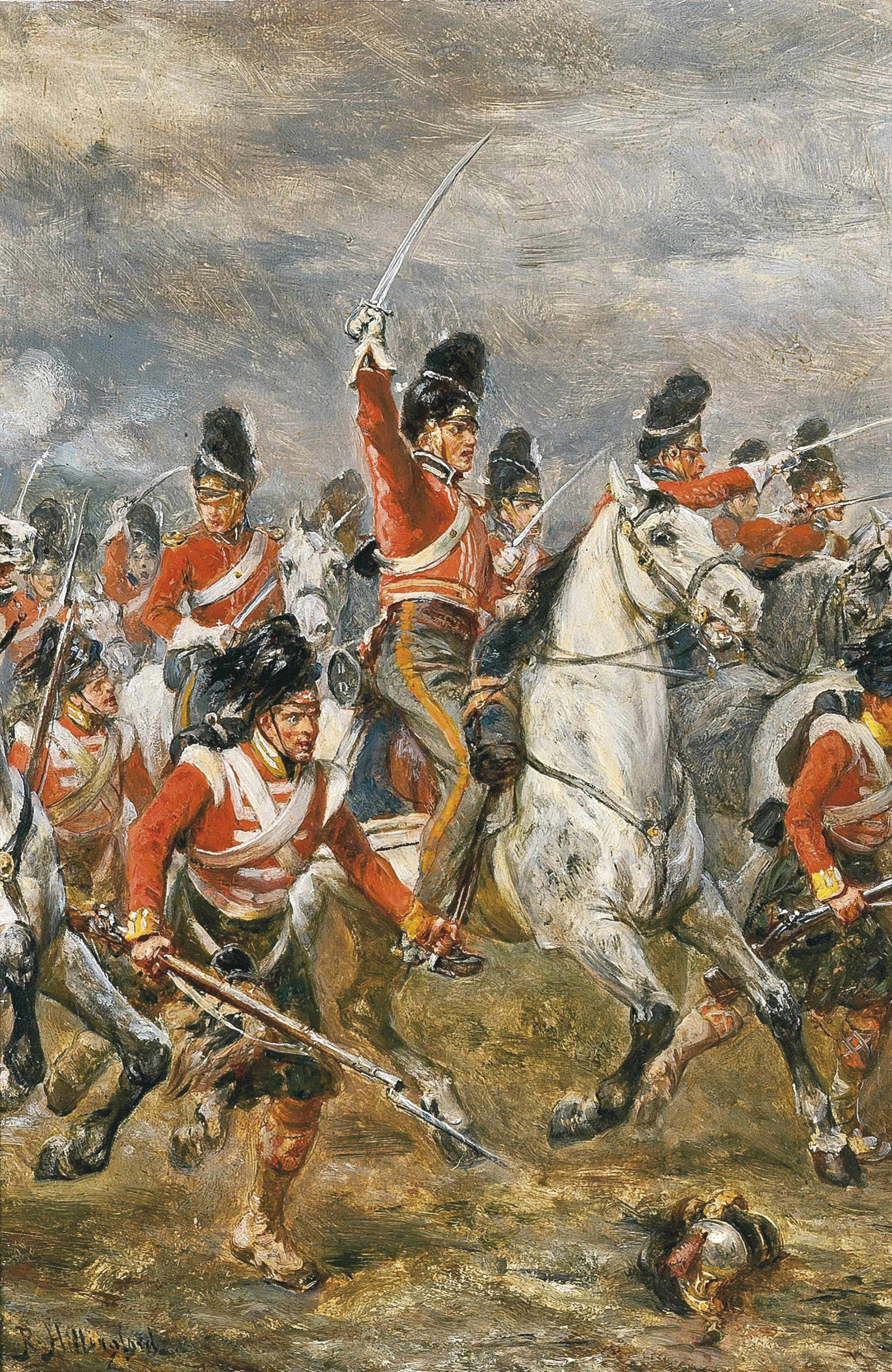 The charge of the Royal Scots Greys at Waterloo, supported by a Highland regiment