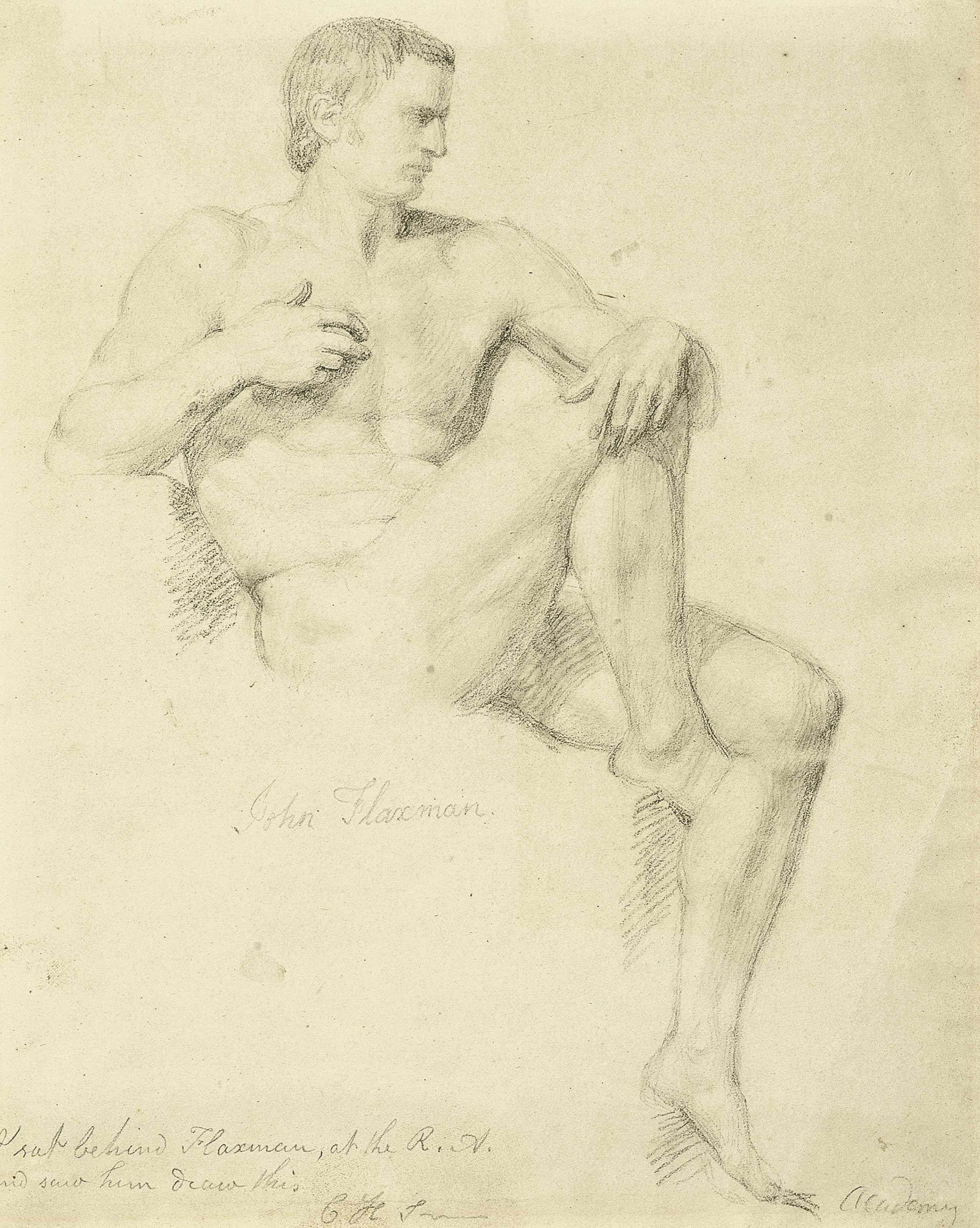 Study of a seated male nude, right leg raised