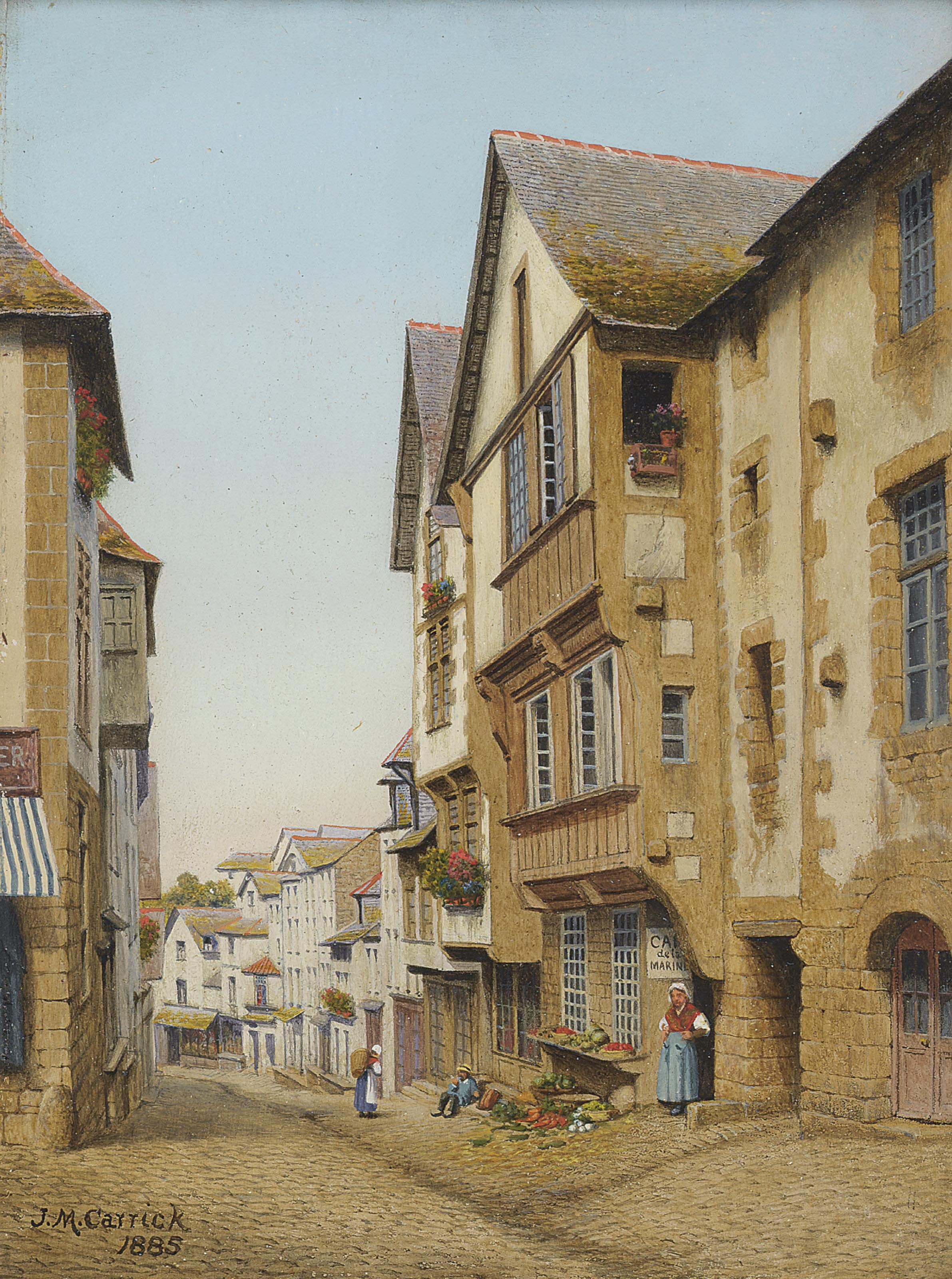 A street in Dinan, Brittany; and Another similar