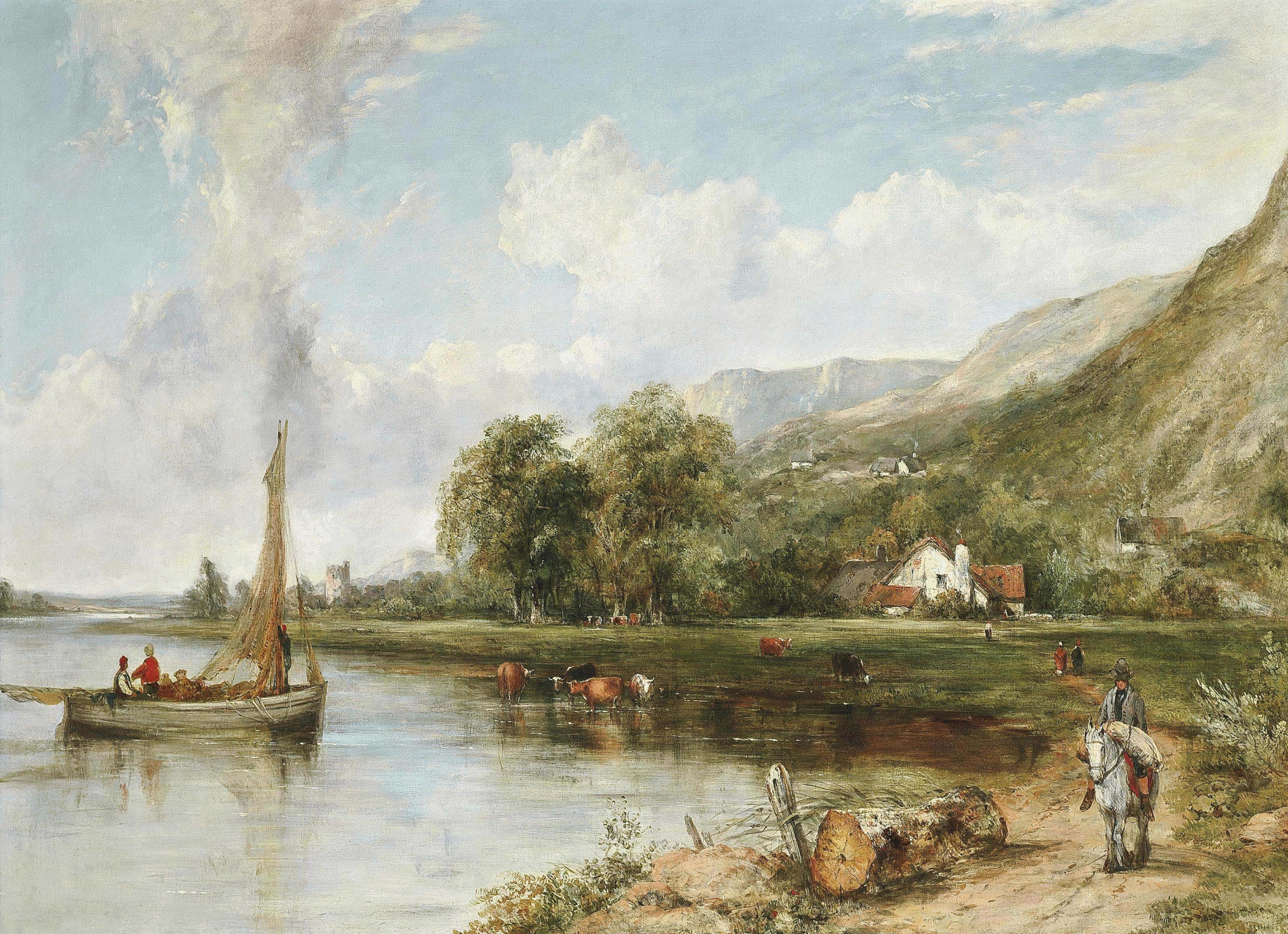 Fishing on the estuary, with cattle watering nearby