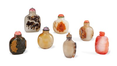 SEVEN VARIOUS AGATE AND CHALCE