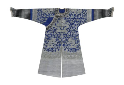 A BLUE BROCADE FORMAL COURT RO