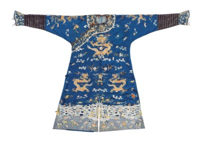 A BLUE SILK EMBROIDERED FORMAL