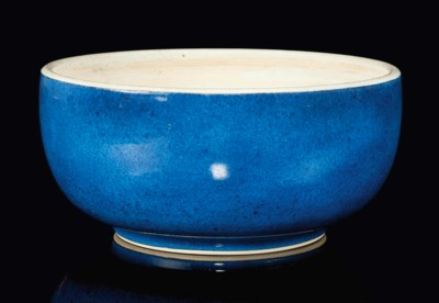 A POWDER BLUE GLAZED DICE BOWL