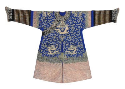 A BLUE SILK EMBROIDERED COURT